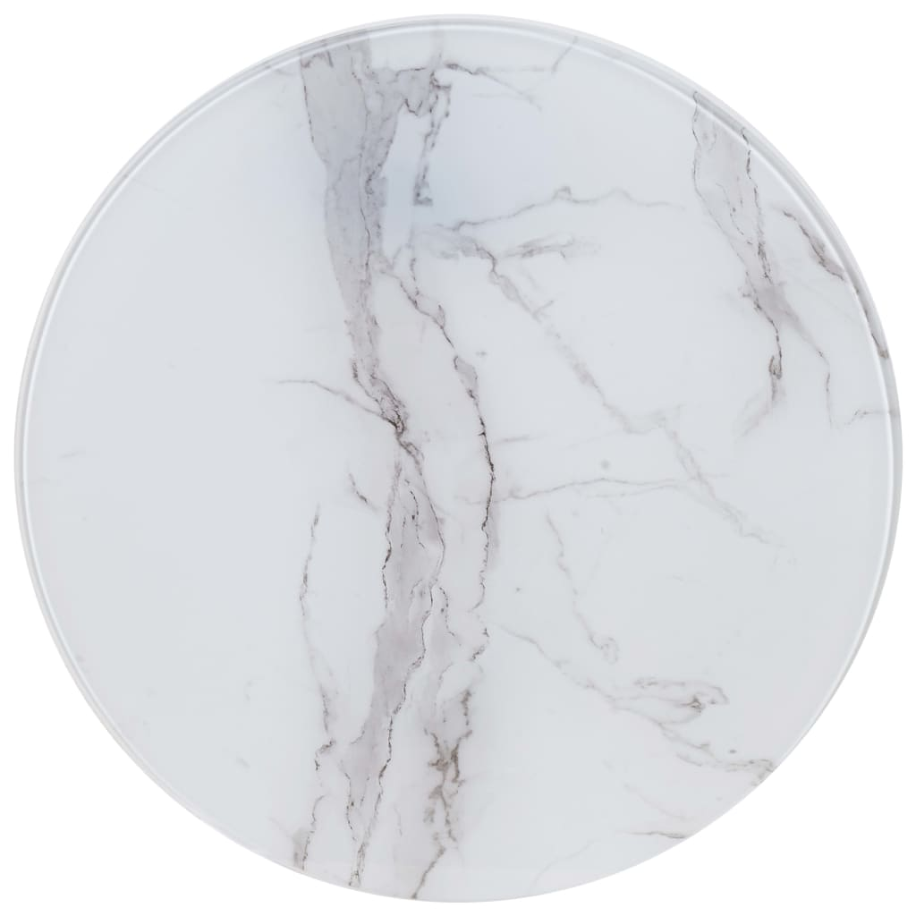 vidaXL Επιφάνεια Τραπεζιού Λευκή Ø60 εκ. Γυάλινη με Μαρμάρινη Όψη