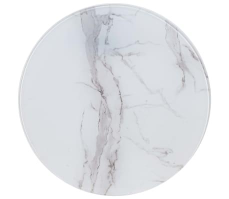 vidaXL Stalviršis, baltas, marmuro tekstūros stiklas, 70cm skersmens