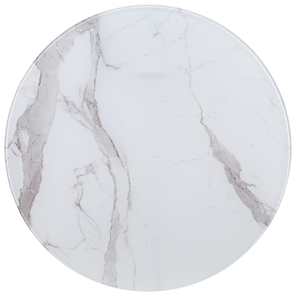 vidaXL Blat de masă, alb, Ø80 cm, sticlă cu textură de marmură imagine vidaxl.ro