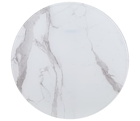 vidaXL Stalviršis, baltas, marmuro tekstūros stiklas, 80cm skersmens[1/4]