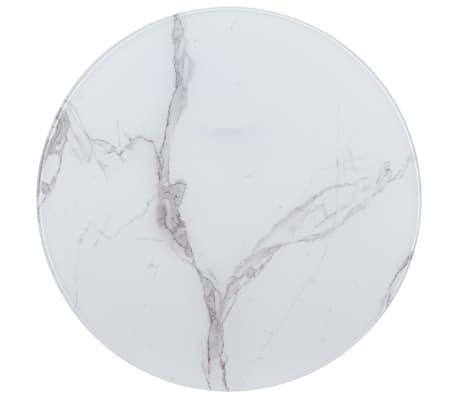 vidaXL Površina za mizo bela Ø 90 cm steklo s teksturo marmorja[1/4]