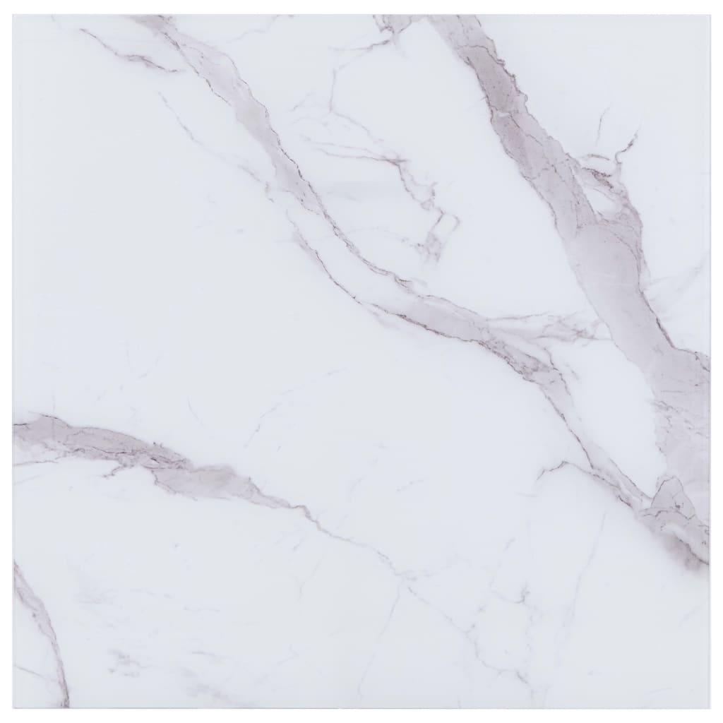 vidaXL Blat masă, alb, 70x70 cm, sticlă cu textură de marmură, pătrat imagine vidaxl.ro