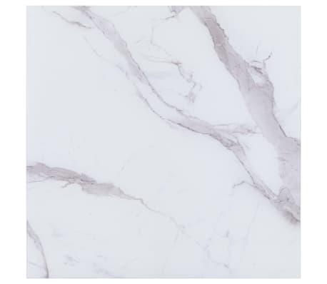 vidaXL Stalviršis, baltas, 70x70cm, marmuro tekstūros stiklas[1/4]