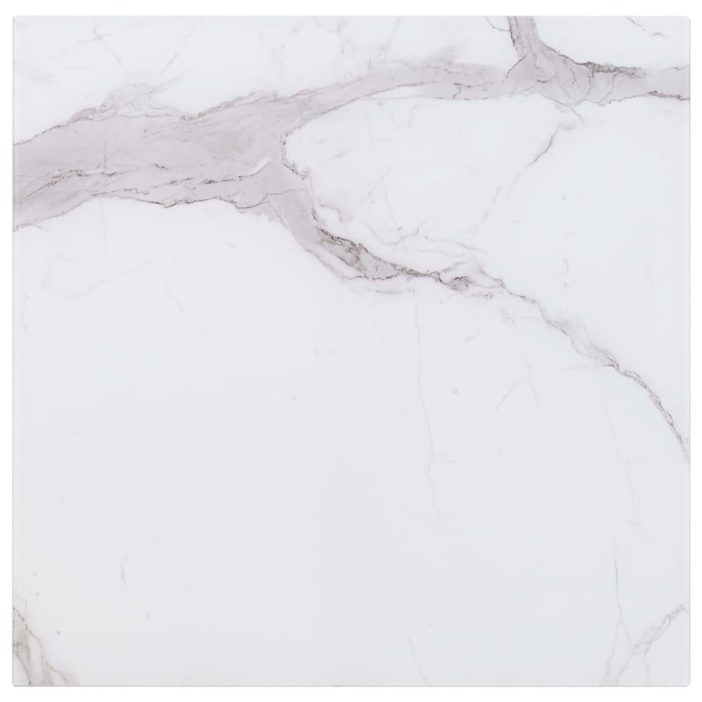 vidaXL Blat masă, alb, pătrat, 80x80 cm, sticlă cu textură de marmură imagine vidaxl.ro