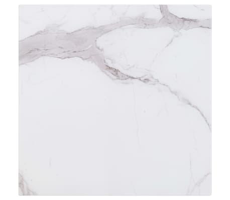 vidaXL Površina za mizo bela 80x80 cm steklo s teksturo marmorja[1/6]