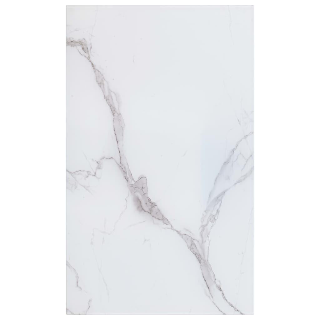Stolní deska bílá obdélníková 100 x 62 cm mramorové sklo