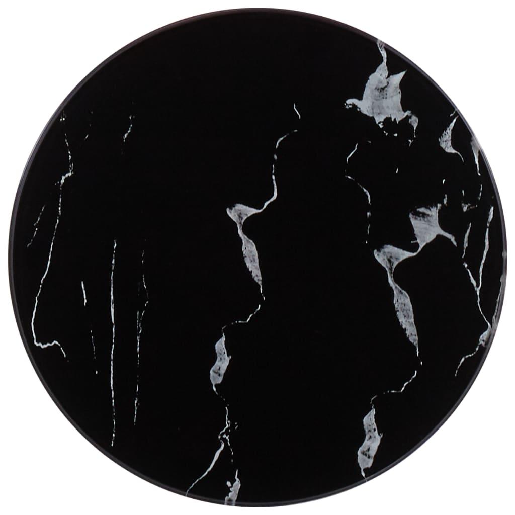 vidaXL Blat de masă, negru, Ø30 cm, sticlă cu textură de marmură poza 2021 vidaXL