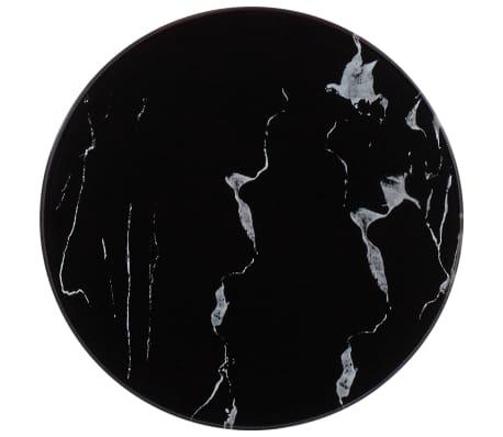 vidaXL Bordsskiva svart Ø30 cm glas med marmortextur