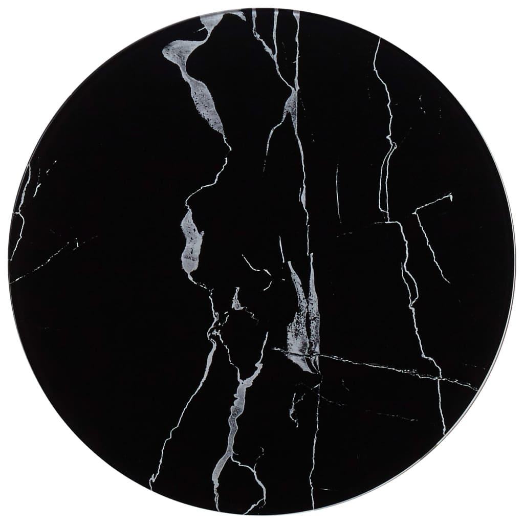 vidaXL Blat de masă, negru, Ø40 cm, sticlă cu textură de marmură poza vidaxl.ro