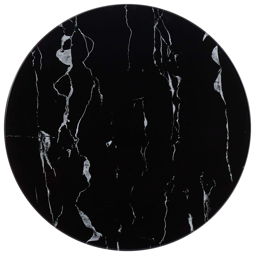 vidaXL Blat de masă, negru, Ø50 cm, sticlă cu textură de marmură poza 2021 vidaXL