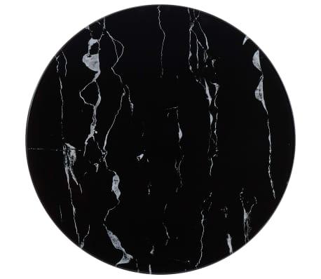 vidaXL Tampo de mesa Ø50 cm vidro com textura de mármore preto