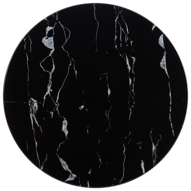 vidaXL Površina za mizo črna Ø50 cm steklo s teksturo marmorja[1/4]