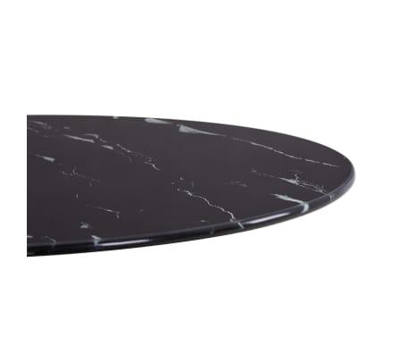 vidaXL Površina za mizo črna Ø50 cm steklo s teksturo marmorja[3/4]