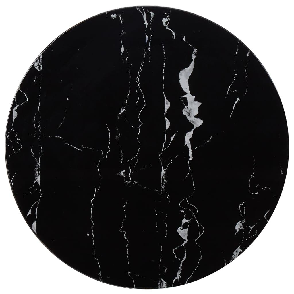 vidaXL Blat de masă, negru, Ø70 cm, sticlă cu textură de marmură imagine vidaxl.ro