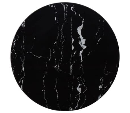 vidaXL Tampo de mesa Ø70 cm vidro com textura de mármore preto