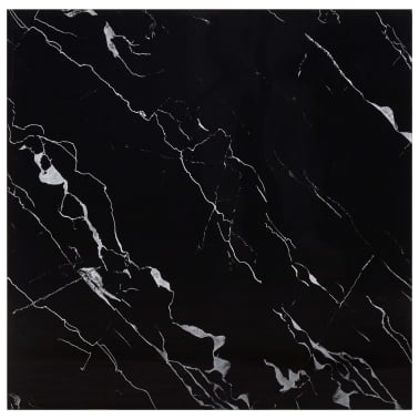 vidaXL Površina za mizo črna 70x70 cm steklo s teksturo marmorja[1/5]