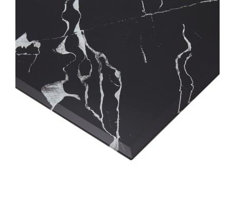 vidaXL Površina za mizo črna 70x70 cm steklo s teksturo marmorja[4/5]