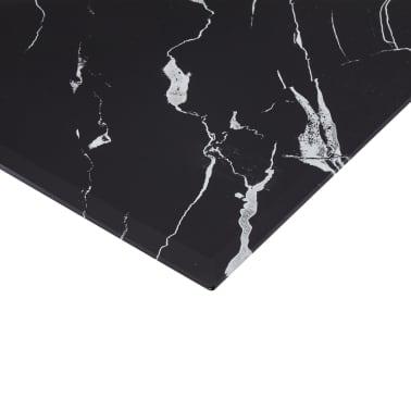 vidaXL Stalviršis, juodas, 80x80cm, marmuro tekstūros stiklas[4/5]