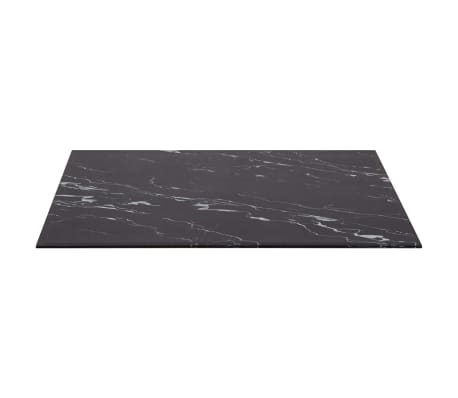 vidaXL Dessus de table Noir Rectangle 120x65 cm Verre et aspect marbre[2/6]