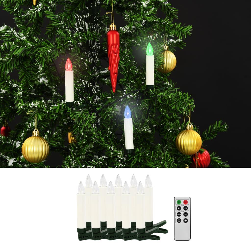 Vánoční bezdrátové LED svíčky s dálkovým ovládáním 10 ks RGB