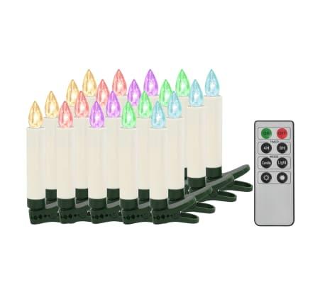 vidaXL Lumânări Crăciun LED wireless cu telecomandă 20 buc.  RGB