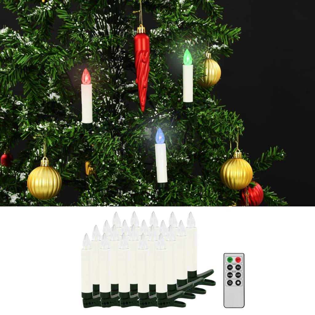 Vánoční bezdrátové LED svíčky s dálkovým ovládáním 20 ks RGB