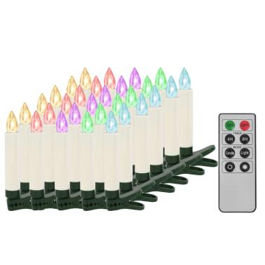 vidaXL Lumânări Crăciun LED wireless cu telecomandă 30 buc. RGB[2/8]