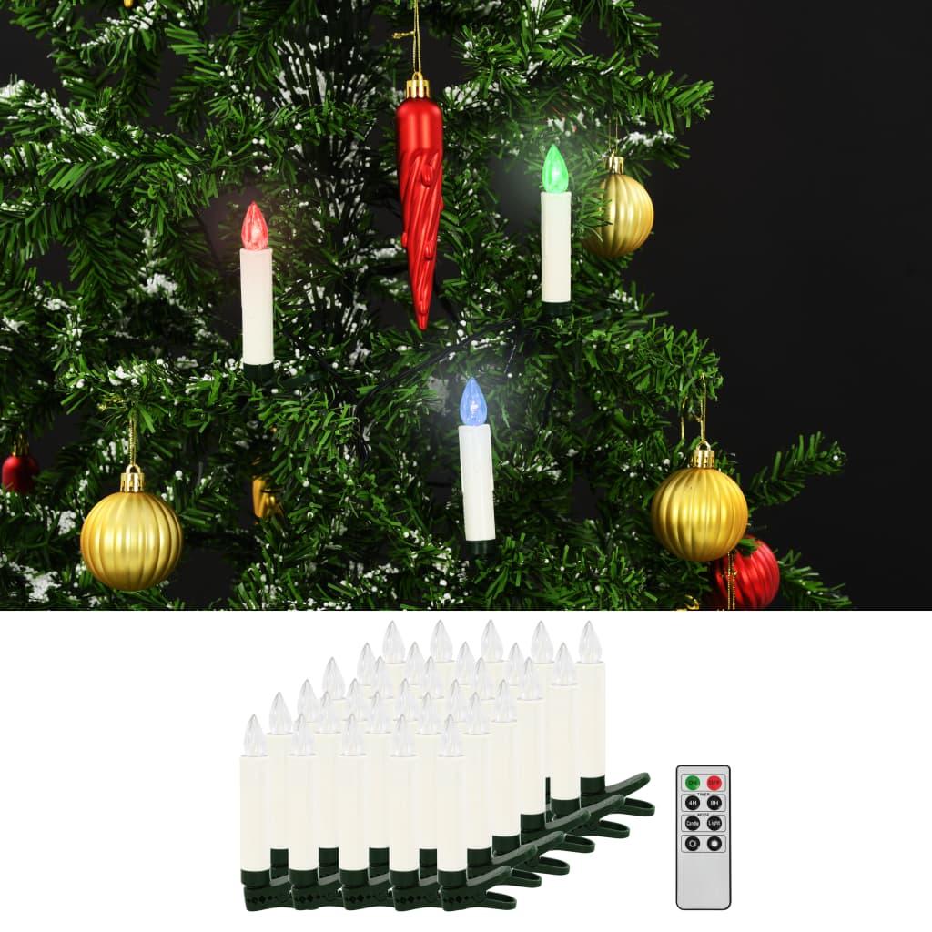 Vánoční bezdrátové LED svíčky s dálkovým ovládáním 30 ks RGB