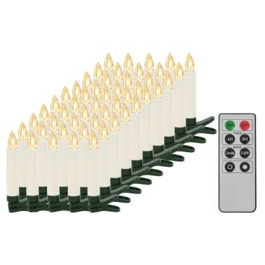 vidaXL Lumânări LED wireless cu telecomandă 50 buc. alb cald[2/8]