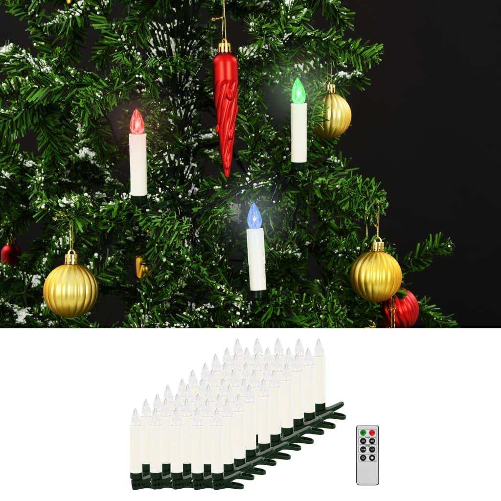 Vánoční bezdrátové LED svíčky s dálkovým ovládáním 50 ks RGB