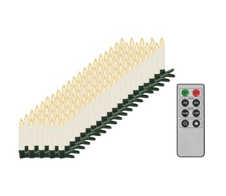 vidaXL Trådløse LED-stearinlys med fjernkontroll 100 stk varmhvit
