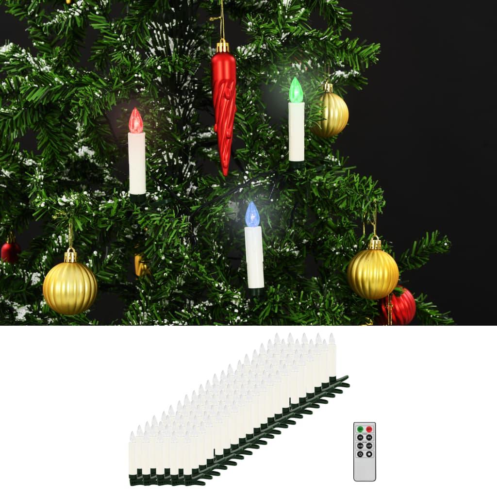 Vánoční bezdrátové LED svíčky s dálkovým ovládáním 100 ks RGB
