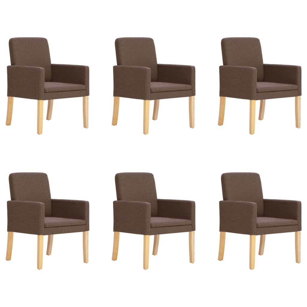vidaXL Blagovaonske stolice od tkanine 6 kom smeđe