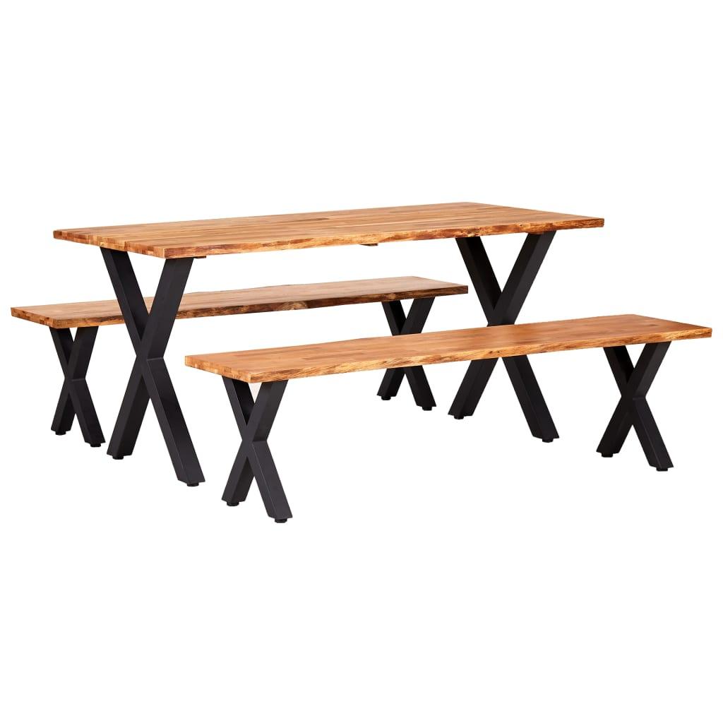 vidaXL Set mobilier de bucătărie, 3 piese, lemn masiv de stejar, natural poza vidaxl.ro