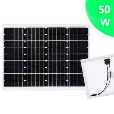 vidaXL Saulės energijos plokštė, aliuminis, stiklas, monokr., 50W[2/9]