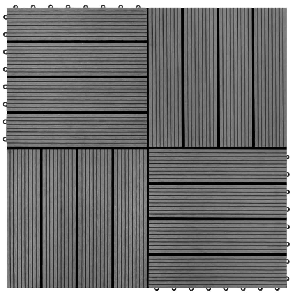 vidaXL Plăci de pardoseală, 22 buc., gri, 30 x 30 cm, WPC, 2 mp poza vidaxl.ro