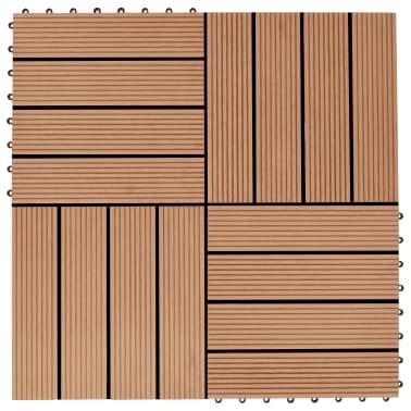 vidaXL Grindų plytelės, 22 vnt., tikmedžio sp., 30x30 cm, 2m², WPC[1/6]