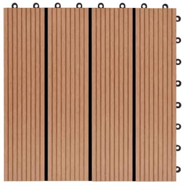 vidaXL Grindų plytelės, 22 vnt., tikmedžio sp., 30x30 cm, 2m², WPC[5/6]