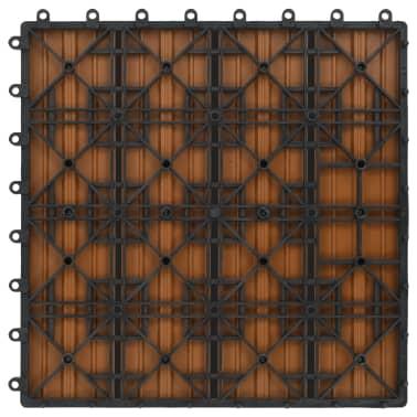 vidaXL Grindų plytelės, 22 vnt., tikmedžio sp., 30x30 cm, 2m², WPC[6/6]