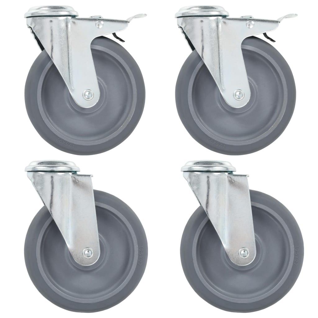 vidaXL Roți pivotante cu gaură pentru șurub, 16 buc., 125 mm vidaxl.ro