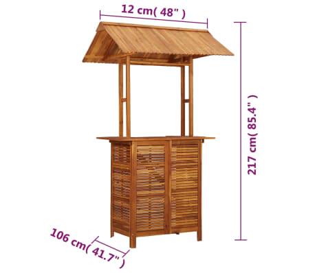 vidaXL Bois d\'Acacia Table de Bar d\'Extérieur avec Toit Jardin Cour Patio |  eBay