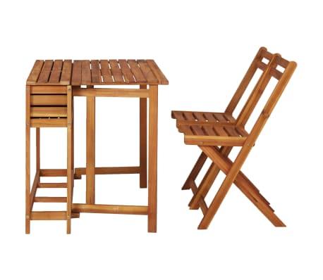 Détails sur vidaXL Bois d'Acacia Massif Table de Balcon avec 2 Chaises de Bistro Jardin