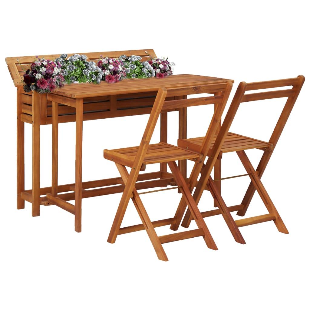 vidaXL Zahradní stolek s truhlíkem a 2 bistro židlemi masivní akácie