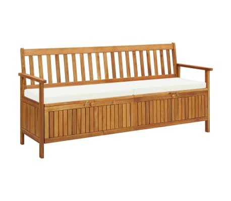 Vidaxl Solid Acacia Wood Storage Bench With Cushion Lounge Seat 148cm 170cm Ebay