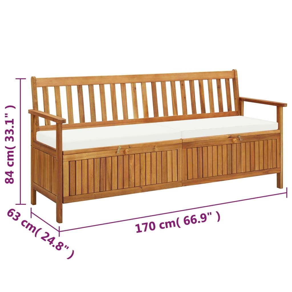 vidaXL Sitzbank mit Stauraum und Sitzpolster 20 cm Massivholz ...