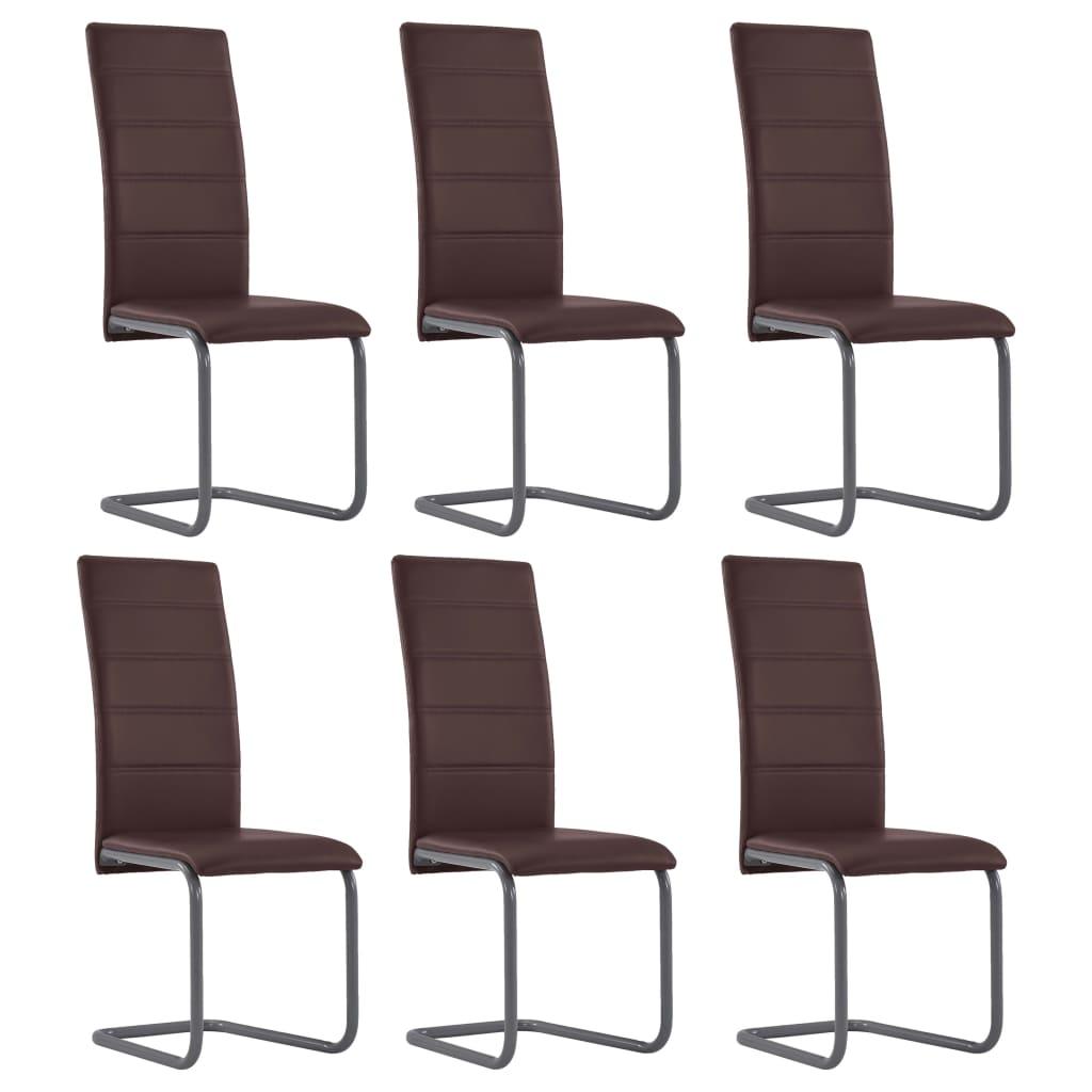 vidaXL Καρέκλες Τραπεζαρίας «Πρόβολος» 6 τεμ. Καφέ από Συνθετικό Δέρμα