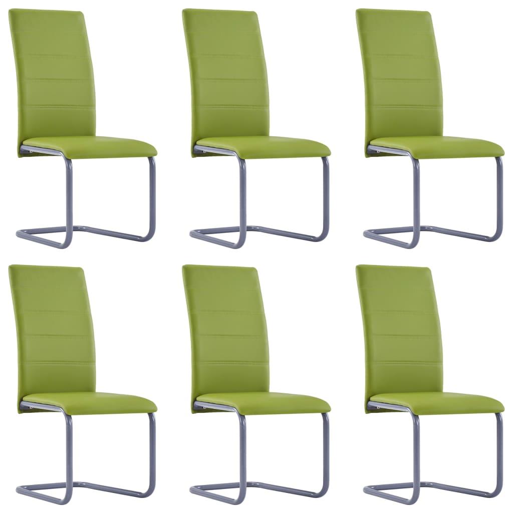 vidaXL Καρέκλες Τραπεζαρίας «Πρόβολος» 6 τεμ. Πράσινες Συνθετικό Δέρμα
