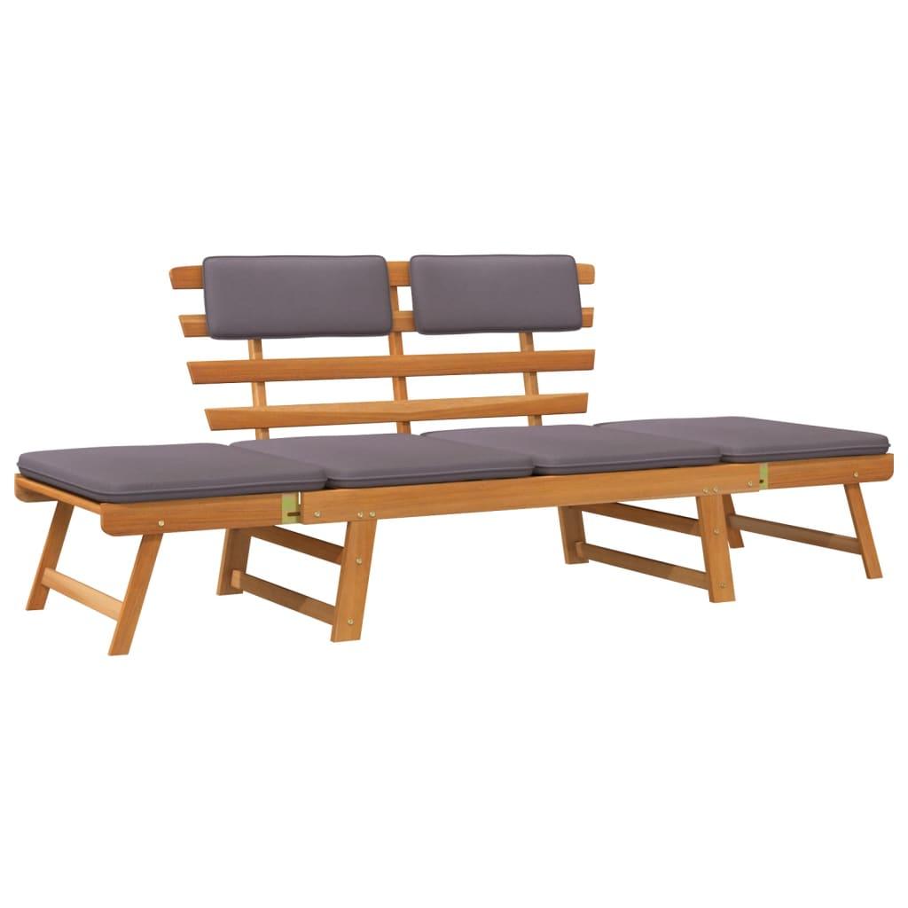 vidaXL Chaise longue avec coussin 2-en-1 190 cm Bois solide d'acacia