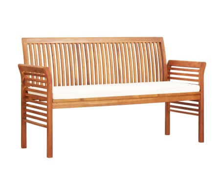 vidaXL 3místná zahradní lavice s poduškou 150cm masivní akáciové dřevo