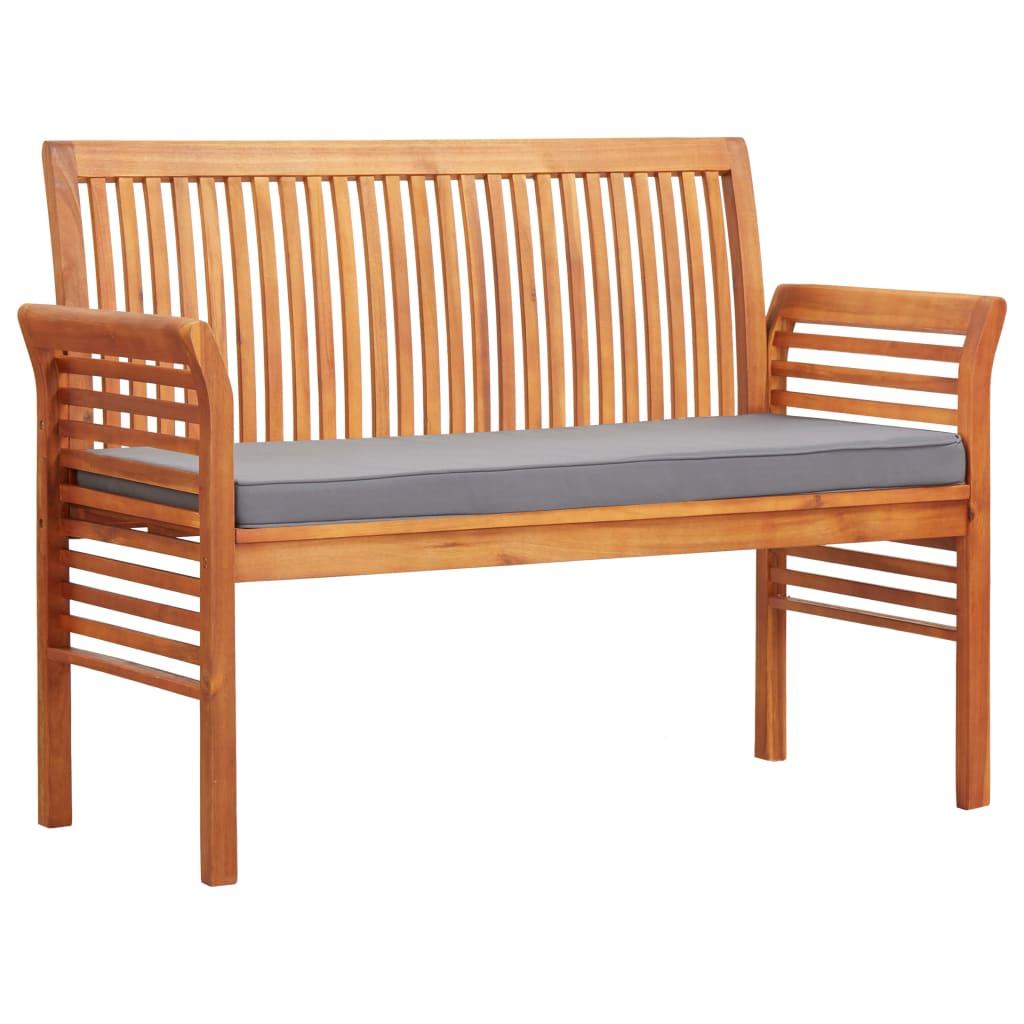 vidaXL 2-osobowa ławka ogrodowa z poduszką, 120 cm, drewno akacjowe